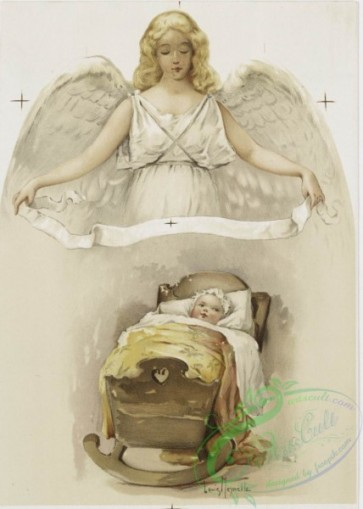 angels-00007 - 1174-Christmas cards and 'cities of the U. S.' depicting an angel, a baby in a cradle, mother holding baby, people representing 14 American cities.100646 [1186x1661]