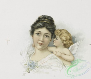 angels-00011 - 1198-Valentines depicting cupid, bows, arrows, flowers, butterflies, ribbon, a woman, a cobweb, a window and a heart.100745 [1149x998]