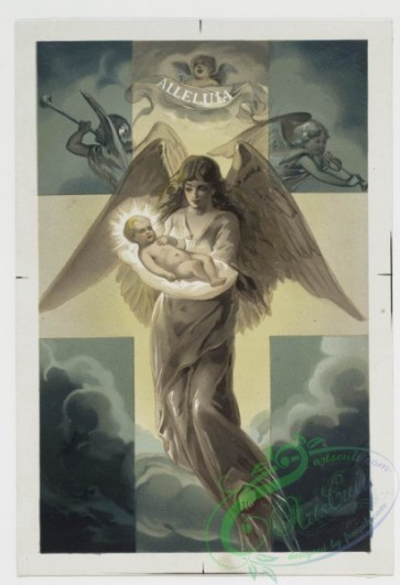 angels-00019 - 144-Christmas cards depicting an angel presenting the Christ child and decorative vase with flowers.101882 [1220x1784]