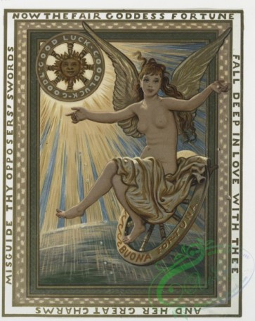 angels-00036 - 206-Birthday, Christmas and New Year cards depicting the Goddess of Fortune, clovers, steering wheels, elves, a bell and decorative ornamentation.104026 [1522x1912]