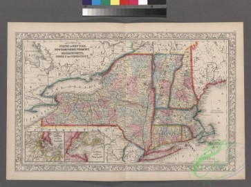 antique_maps-03123 - 2307-County map of the States of New York, New Hampshire, Vermont, Massachusetts, Rhode Island and Connecticut , Harbor and vicinity of New York (inset), H
