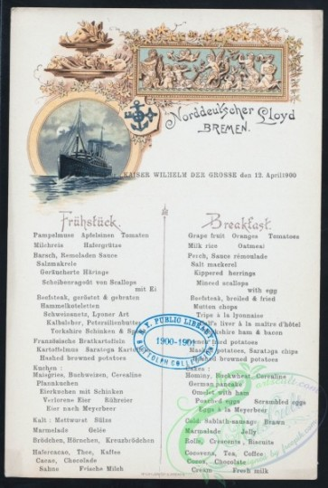 menu-01360 - 01286-Steamship, printed text, Frame, decorations, ornaments