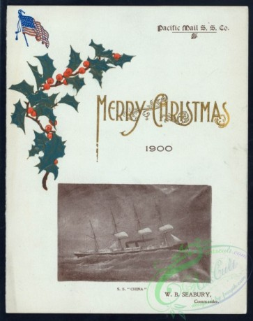 menu-01722 - 01648-Merry Christmas, Holly branch, USA flag