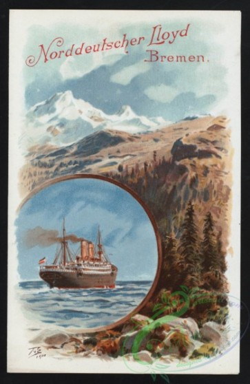 menu-02015 - 01993-Steamship, Mountains, Round frame