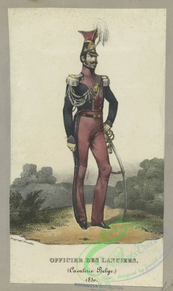military_fashion-01071 - 106399-Belgium, 1830-1831-Officer des lancers, (Cavalerie belge.) 1830