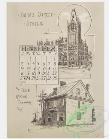 prang_calendars-00068 - 0978-Philadelphia Calendar, 1890, July-December-Zoological Gardens, The House in which the American Flag was made, General Washington's House in Germ 108478