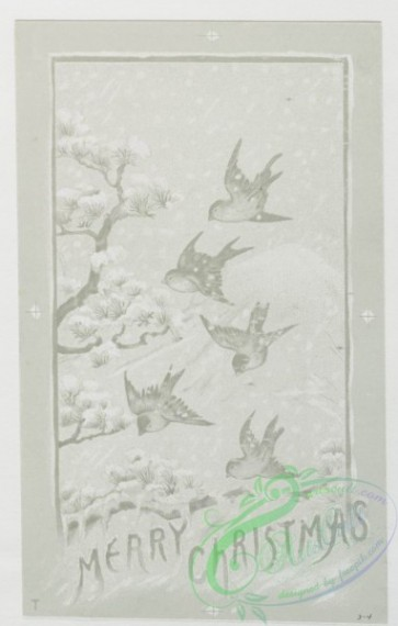 prang_cards_black-and-white-00114 - 0373-Christmas cards depicting winter scenes, spring, women and birds 105357