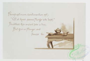 prang_cards_black-and-white-00340 - 0834-Recipes- cards with text, depicting poultry, a cabinet of jarred food, a table spread, and vegetables 107901