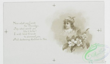 prang_cards_black-and-white-00480 - 1013-Kind wishes for each day- cards with text about the days of the week, depicting outdoor scenes, a fairy paddling a mushroom and leaf boat, children  100050