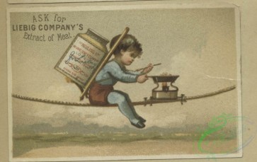 prang_cards_kids-00819 - 1643-Trade cards depicting children eating, carrying and cooking jars of meat in various locations-on a tightrope, ocean, mountains and beach 102791