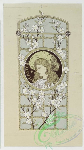 prang_cards_people-00001 - 0276-Easter cards with text, depicting the outdoors, flowers, girls and decorative designs 104537