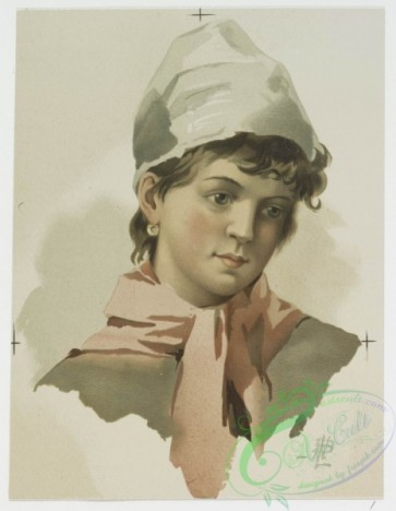 prang_cards_women-00016 - 0536-Portraits of young women and girls at various ages, wearing hats 106478
