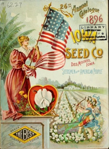 seeds_catalogs-03256 - 077-Woman holding USA flag, patriotic, Sweet Pea, heart, angel, bow, field [2639x3583]