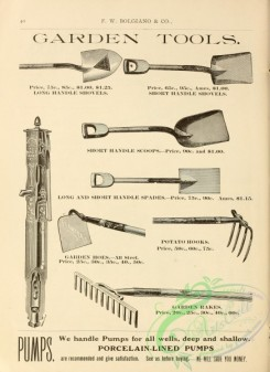 agricultural_implements-00010 - black-and-white Shovels, Hooks, Hoes, Rakes, Pump