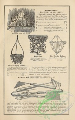 agricultural_implements-00060 - black-and-white Rustic vase, Hanging Baskets, Tools