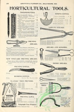 agricultural_implements-00096 - black-and-white Horticultural Tools, Knives, Shears, Pruners, Hoes