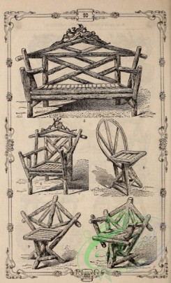 agricultural_implements-00124 - black-and-white Rustic bench, chair, 2