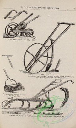 agricultural_implements-00151 - black-and-white Drill, Wheel Plow, Lawn Mower, Horse Hoe