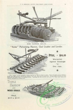 agricultural_implements-00157 - black-and-white Disk harrow, Clod Crusher and Leveler, Triple Harrow and wood drags