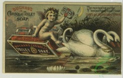 angels-00017 - 1336-Trade cards depicting sailboats, a road, an angel riding a swan drawn boat made of soap, a woman washing clothes and bathing a dog.101277 [2055x1302]