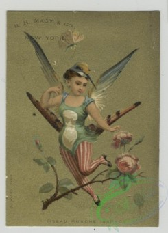 angels-00020 - 1513-Trade cards depicting women in bird and peacock costumes, children wearing jester and soldier costumes playing a drum and carrying rifles.102159 [1250x1737]