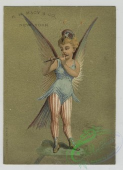 angels-00021 - 1513-Trade cards depicting women in bird and peacock costumes, children wearing jester and soldier costumes playing a drum and carrying rifles.102161 [1244x1721]