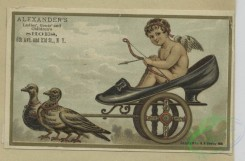 angels-00024 - 1629-Trade cards depicting painting palettes, dogs, birds, cats, frogs, angels, shoes, fishing and a woman in a hat.102687 [2007x1322]