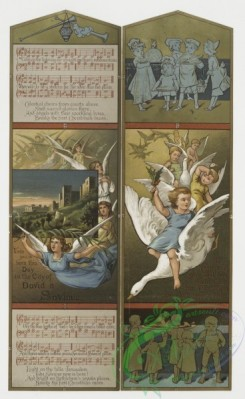 angels-00031 - 187-Christmas cards depicting children riding ducks and serving food, angels, a landscape, musical notation and plants.103889 [1929x3138]