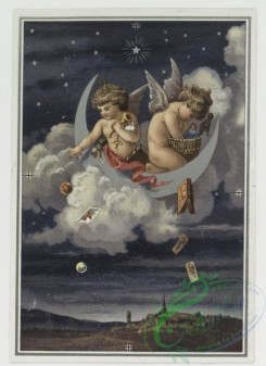 angels-00045 - 299-Christmas cards with decorative designs, depicting an owl, clouds, stars, angels, gifts, flowers, vases and a distant town.104749 [1016x1397]