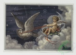 angels-00046 - 299-Christmas cards with decorative designs, depicting an owl, clouds, stars, angels, gifts, flowers, vases and a distant town.104750 [1459x1052]