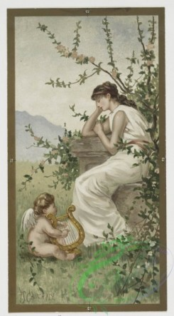 angels-00078 - 412-Valentines depicting women in classical dress with baby angels, harp, by F.S. Church, flowers with vase.105630 [1140x2055]