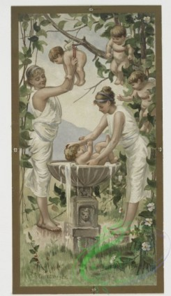 angels-00079 - 412-Valentines depicting women in classical dress with baby angels, harp, by F.S. Church, flowers with vase.105631 [1180x2035]