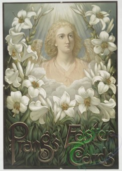 angels-00091 - 474-Poster with the following text, ''Prang's Easter Cards'', depicting an angel and lilies.106092 [3280x4577]