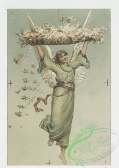 angels-00106 - 609-Easter cards depicting angels, a bell tower, flowers, butterflies, clovers, birds and decorative ornamentation.106930 [1102x1551]