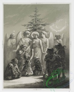 angels-00123 - 906-Spirit of the Pines [angels gathering, with children dressed in leaves, with tall tree, moon and stars, children kneeling before tree, gathering with .108217 [1600x1979]