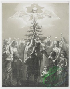 angels-00124 - 906-Spirit of the Pines [angels gathering, with children dressed in leaves, with tall tree, moon and stars, children kneeling before tree, gathering with .108219 [1513x1923]