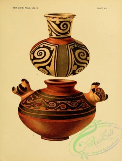 crockery-00206 - Polychrome Ware, Pitcher-shaped Vase with horizontally flattened lip, Vase of eccentric form