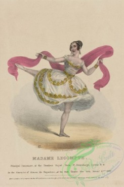 dances-00399 - 1493-Madame Lecompte, principal danseuse at the Theatres Royal Paris, St, Petersburgh, Lyons ,c, ,c,, in the character of Zoloe, the bayadere, at the Park