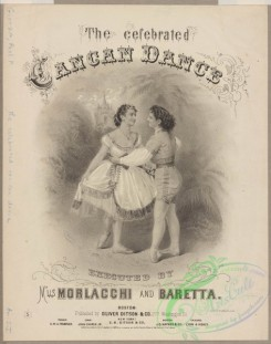dances-00737 - black-and-white 0875-The celebrated cancan dance executed by M'lls Morlacchi and Baretta