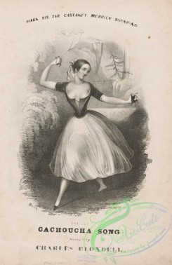 dances-00833 - black-and-white 0180-Hark t'is the castanet merrily sounding the Cachucha song,Additional Cachucha