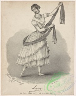 dances-01007 - black-and-white 1717-Augusta (facsimile signature) in the role of the bayadere,Additional Dieu et la bayadere