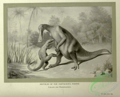 dinosaurs-00161 - black-and-white 033-Reptiles of Cretaceous Period, Laelaps, Hadrosaurus