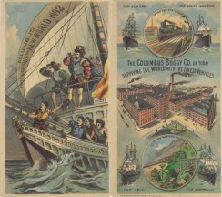 ephemera_advertising_trading_cards-00230 - 0230-Ship, Ocean, Columbus first sighting New World, Train, Buildings [3000x2650]