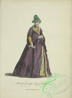 fashion-00957 - 199-Habit of a Swedish lady of quality in 1577, Dame de qualite de Suede