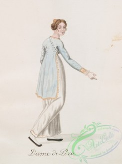 fashion-01540 - 052-Dame de Pera, Woman in long white dress and shorter pale blue coat with gold trims, wearing pearls over one shoulder, shown in three-quarter back view