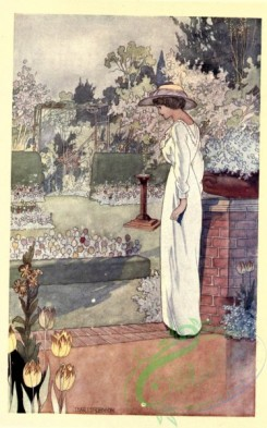 gardens-00034 - Woman in hat and dress in the garden near the stone wall [1559x2495]