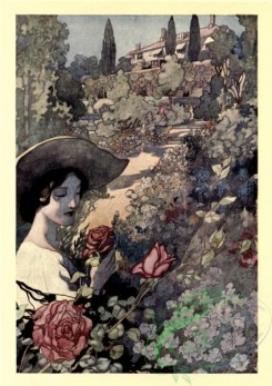 gardens-00035 - Woman in hat smelling roses flowers in the garden [1747x2468]