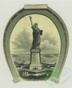 goodluck-00004 - 1347-Trade cards depicting the Statue of Liberty, butterflies, fans, portraits, winter, boats, a horseshoe, a trail, a crow and a riverzzz101310 [1504x1848]