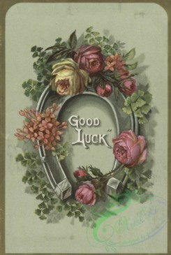 goodluck-00008 - 1511-A trade card with the words 'good luck' depicting flowers and a horseshoezzz102152 [1571x2338]