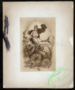 menu-00819 - 00745-Woman, Earth Globe, USA emblem, Miss Columbia
